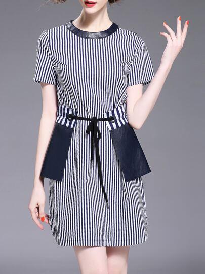 Контрастное модное платье в полоску