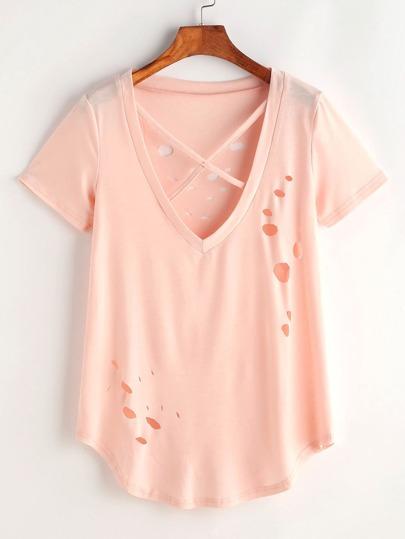 Tee-shirt col en V croisé lacéré