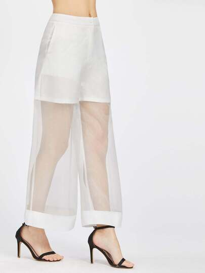 Organza Panel Wide Leg Pants