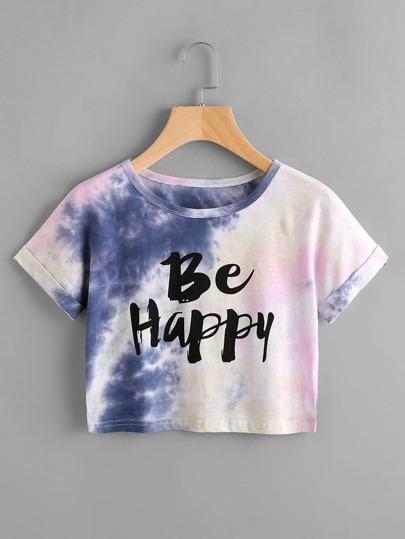 Camiseta de manga de doblez con estampado de tie dye y lema
