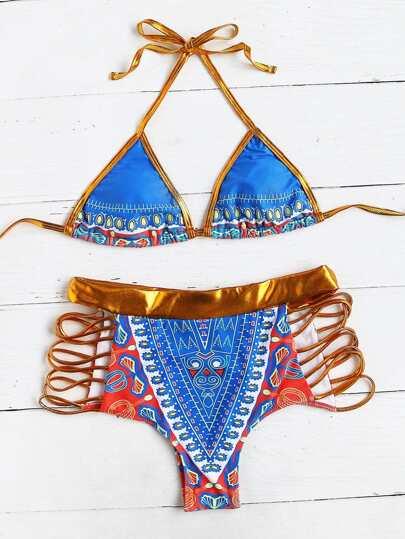 Set di bikini a vita alta con cut-out laser, con stampa di tribale