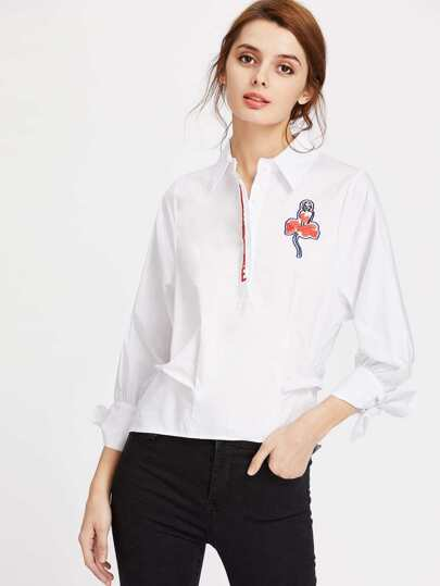Embroidered Half Placket Tie Cuff Blouse