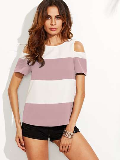Open Shoulder Wide Striped Curved Back Top