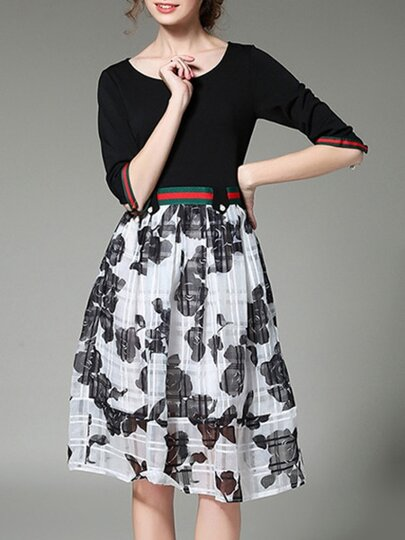 Black Color Block Print A-Line Dress