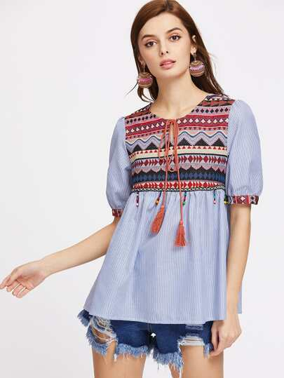 Jacquard Yoke Tasseled Tie Beaded Fringe Trim Babydoll Top