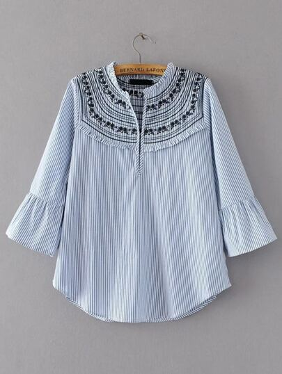 Flute Sleeve Vertical Stripe Embroidered Blouse