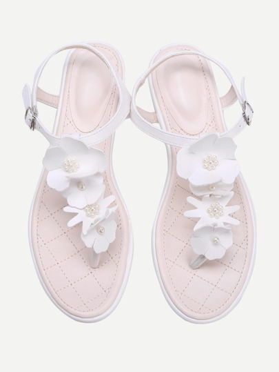 Flower and Faux Pearl PU Toe Post Sandales