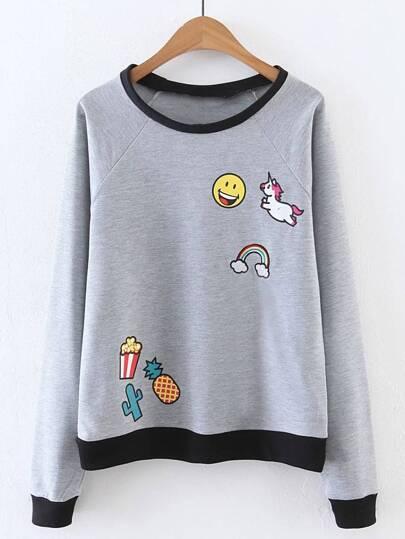 Raglan Sleeve Smile Face Print Sweatshirt