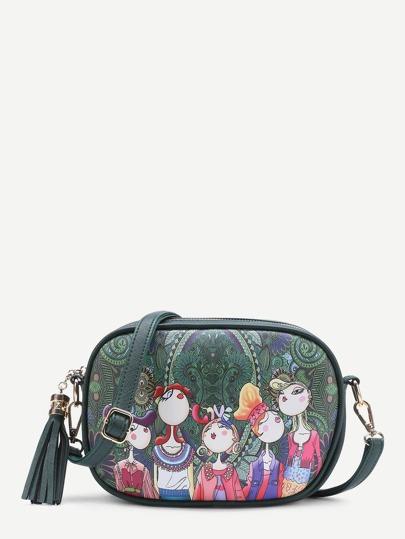 Tassel Detail Cartoon Print Crossbody Bag