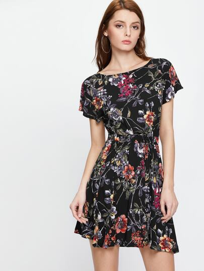 Florals Open Back Tie Detail Dress
