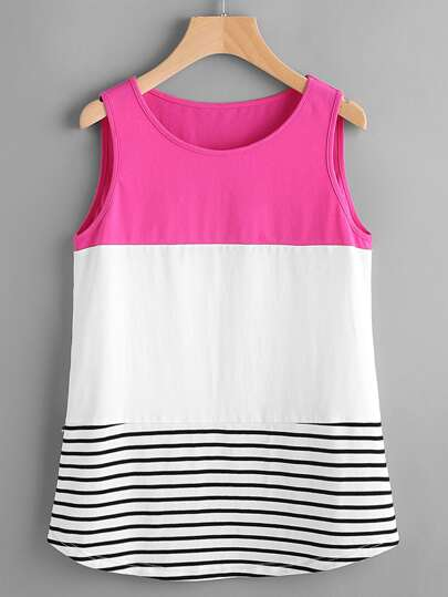 Color Block Striped Curved Hem Tank Top
