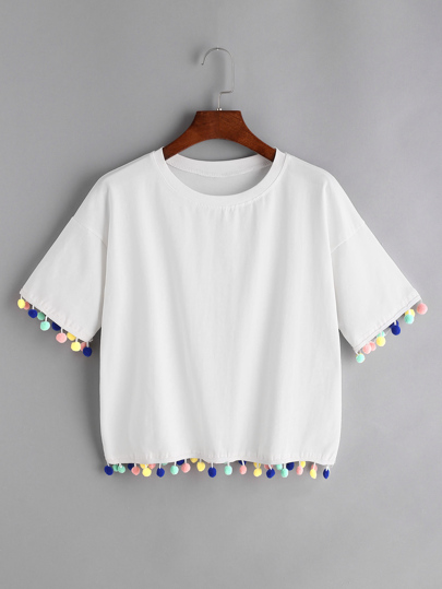 Drop Shoulder Pom Pom Hem Tee