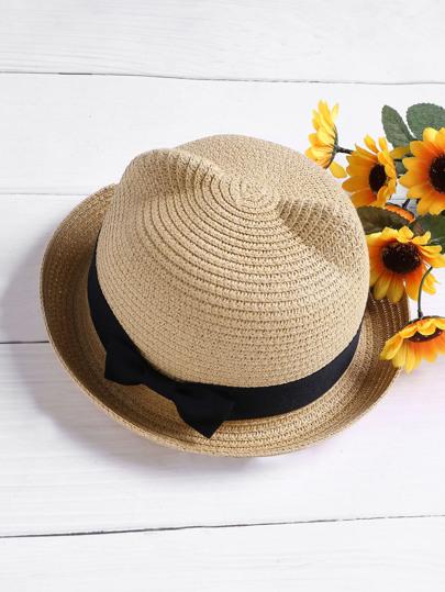Sombrero de paja con diseño de oreja de gato
