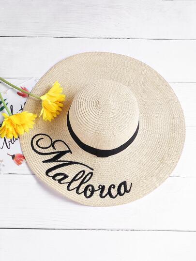 Chapeau de plage à la broderie à la lettre