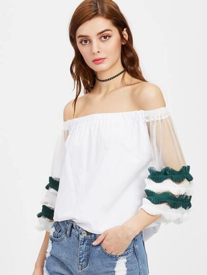 Bardot Contrast Mesh Sleeve Exaggerated Frill Top