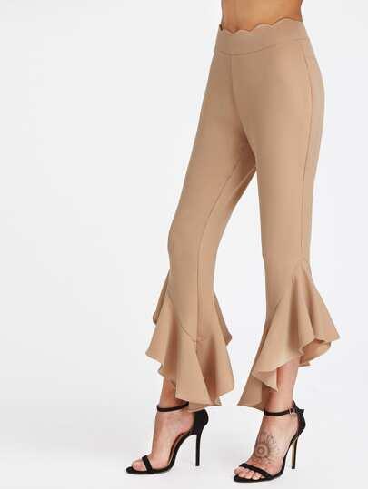 Scallop Waistband Asymmetric Frill Hem Pants