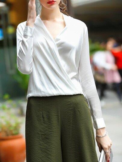 Blusa de manga larga escote V