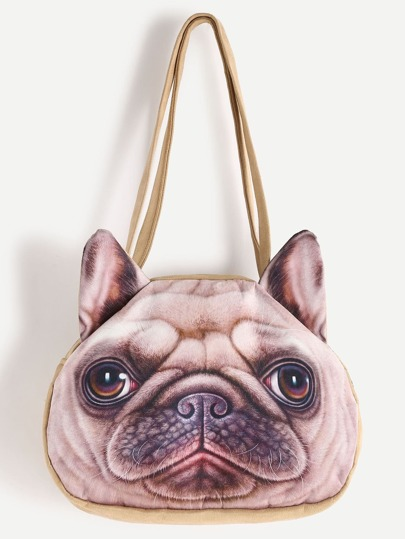 Bulldog Print Shoulder Bag