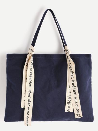 Canvas Tote Bag With Slogan Strap