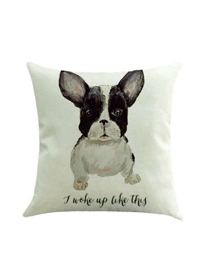 Dog And Letter Print Pillowcase Cover