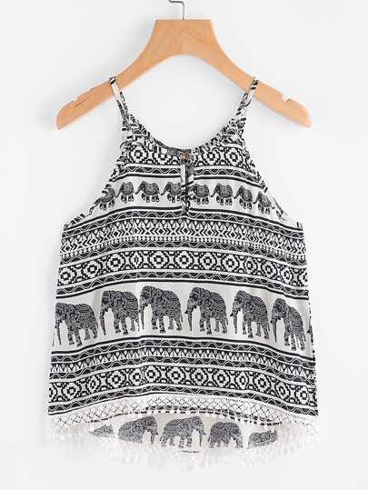 Elephant Print Keyhole Back Dip Hem Cami Top