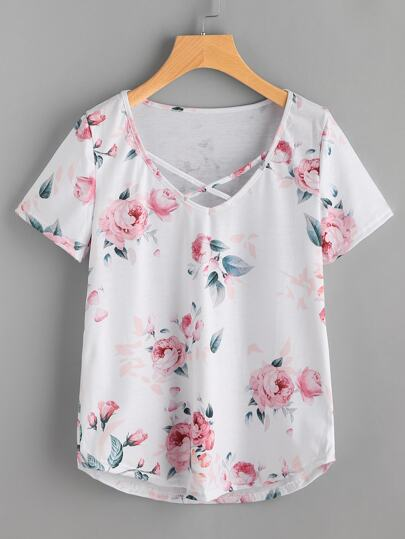 T-Shirt mit Blumenmuster und Kreuzgurte vorne