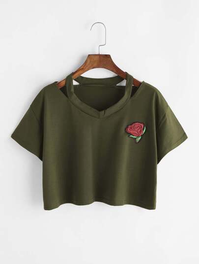 Rose Patch Cut Out Neck Crop Tee