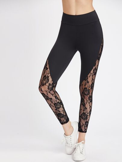Leggings incrusté en dentelle