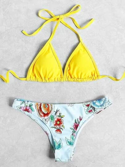 Flower Print Halter Neck Triangle Mix And Match Bikini Set