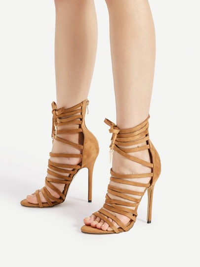 Bow Tie Front Criss Cross Stiletto Sandals