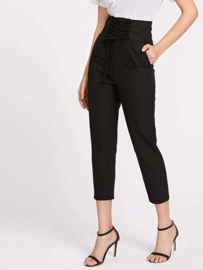 Lace Up Empire Cropped Pants