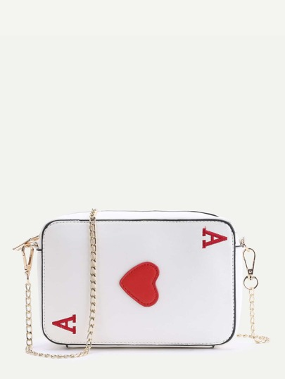 Letter Embroidered Heart Patch Cross Body Bag