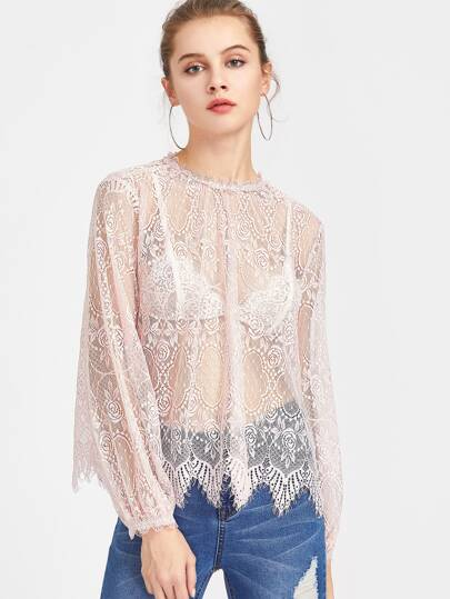 Button Closure Back Elasticized Eyelash Lace Top