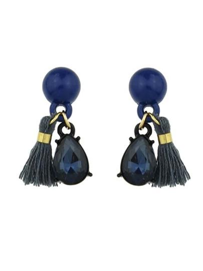 Orecchini con pendente a strass e nappe - blu