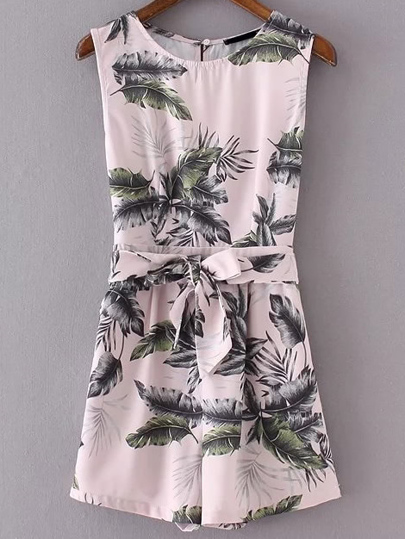 Leaves Print Sleeveless Playsuit With Self Tie