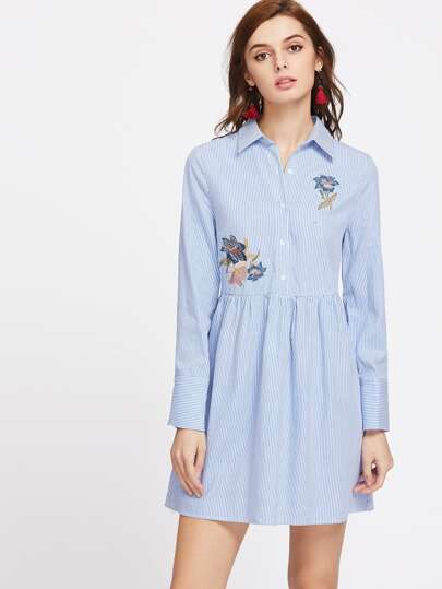 Flower Embroidered Half Placket Striped Babydoll Shirt Dress