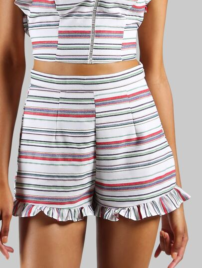 High Waisted Frill Tailored Shorts STRIPE MULTI