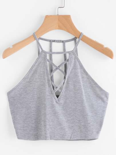 Criss Cross Plunged Strappy Back Top
