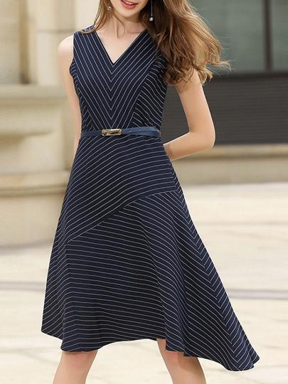 V Neck Striped Asymmetric Dress