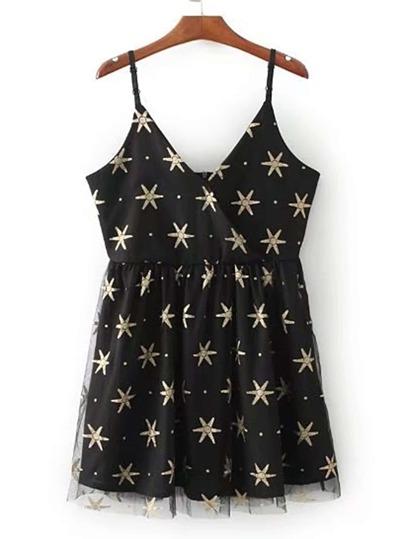 Contrast Mesh Zipper Back Cami Dress