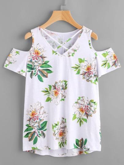 Shirt avec imprimé fleur V-cou et les épaules ouvertes