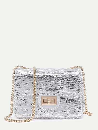 Sequin Overlay Twist Lock Crossbody Chain Bag