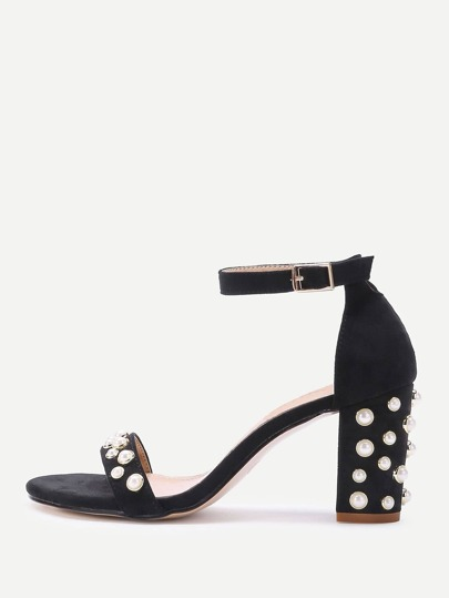 Faux Pearl Detail Two Part Block Heel Sandals