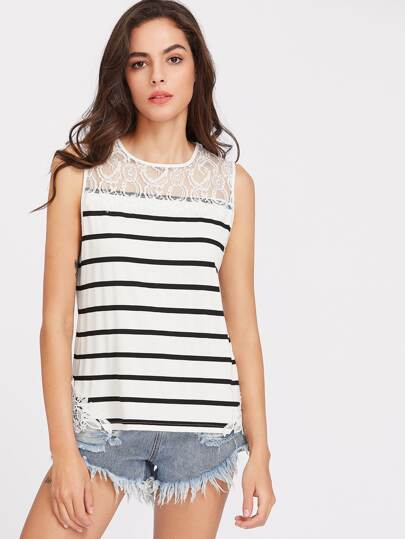 Buttoned Keyhole Lace Yoke Striped Tank Top