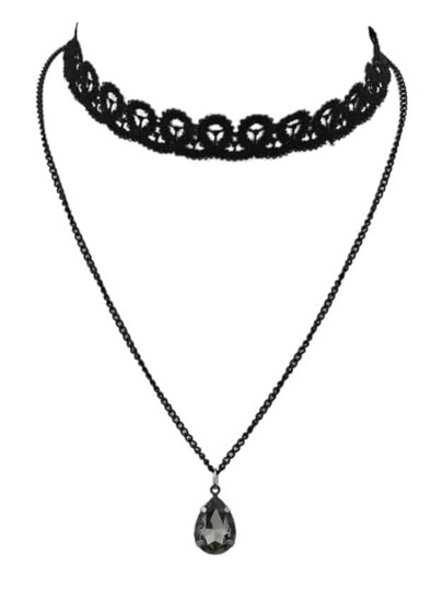 Black Chain Lace Choker Necklace