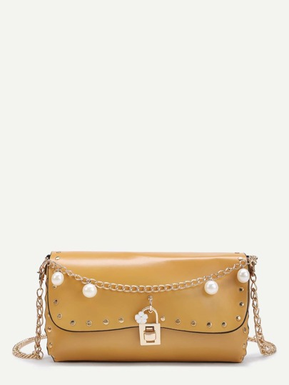 Faux Pearl Design Crossbody Bag With Studded