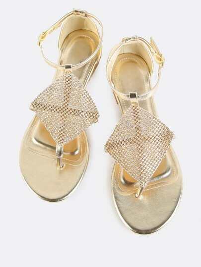 Metallic Crystal Mesh Sandals GOLD
