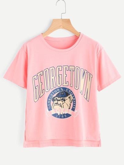 Графическая печать Dip Hem Сплит Side Tshirt