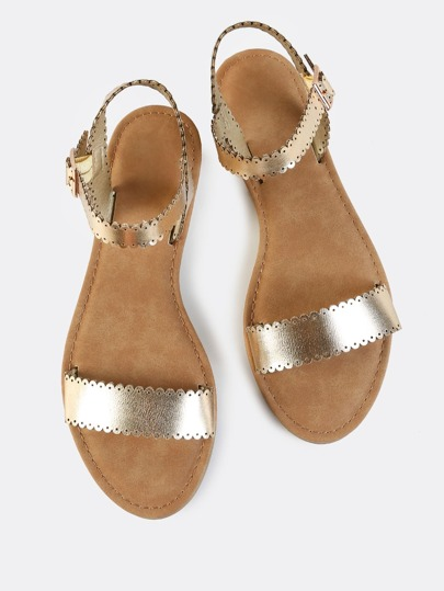 Metallic One Band Scallop Sandals GOLD
