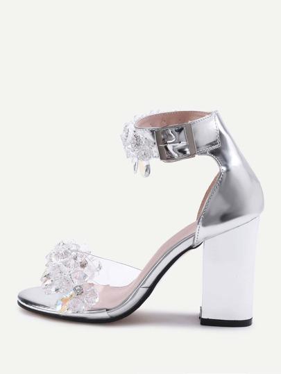 Sandalias de tacón de cuero sintético con adornos de cristal